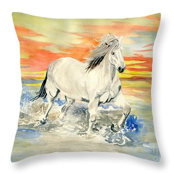 Wild White Horse Throw Pillow