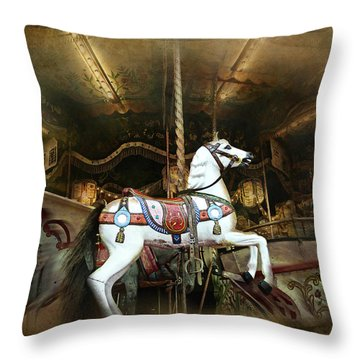 Throw Pillow featuring the photograph Wild Wooden Horse by Barbara Orenya