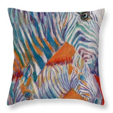 Throw Pillow featuring the mixed media Wild Zebra Colors by Mary Armstrong