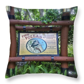 Wilderness Lodge Sign Throw Pillow by Thomas Woolworth