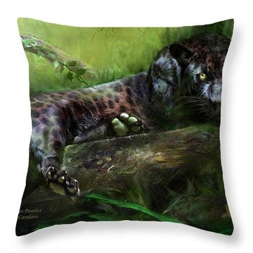 Wildeyes - Panther Throw Pillow by Carol Cavalaris