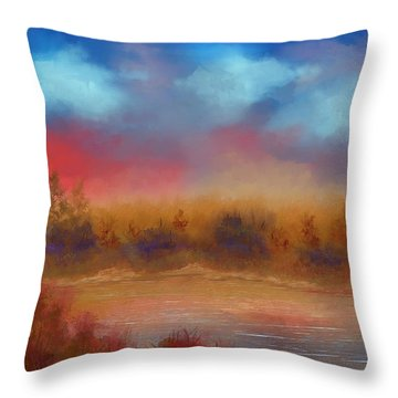 Throw Pillow featuring the painting Wildfire Fire In The Sky by Judy Filarecki