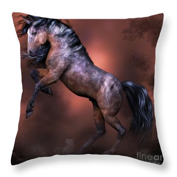 Wildfire- Horse Rearing  Throw Pillow