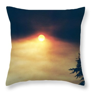 Throw Pillow featuring the photograph Wildfire Smoky Sky by Kerri Mortenson