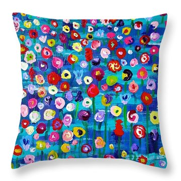 Throw Pillow featuring the painting Wildflower Fiesta by Brenda Pressnall