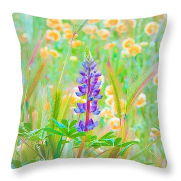 Wildflower Meadow - Spring In Central California Throw Pillow