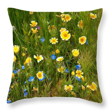 Wildflower Salad - Spring In Central California Throw Pillow by Ram Vasudev