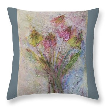 Throw Pillow featuring the painting Wildflowers 2 by Mary Wolf