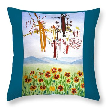 Wildflowers And Rock Art At Halo Shelter  Throw Pillow