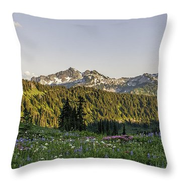 Wildflowers And The Tatoosh Range Throw Pillow