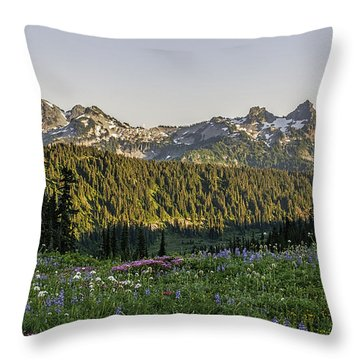 Wildflowers At Mt Rainier Throw Pillow