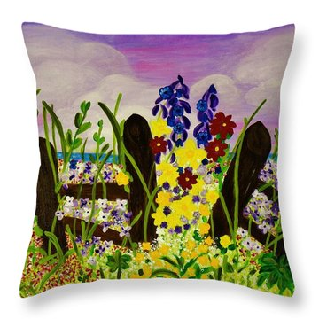 Wildflowers By The Sea Throw Pillow by Celeste Manning