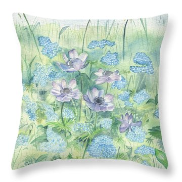 Throw Pillow featuring the painting Wildflowers by Elizabeth Lock