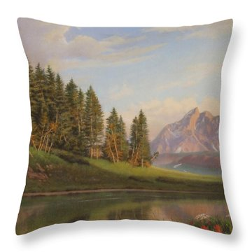 Wildflowers Mountains River Western Original Western Landscape Oil Painting Throw Pillow by Walt Curlee