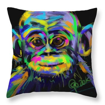 Throw Pillow featuring the painting Wildlife Baby Chimp by Go Van Kampen