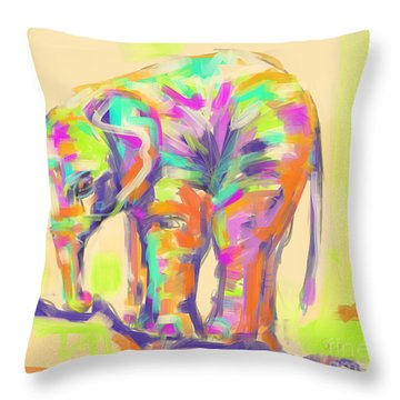 Throw Pillow featuring the painting Wildlife Baby Elephant by Go Van Kampen