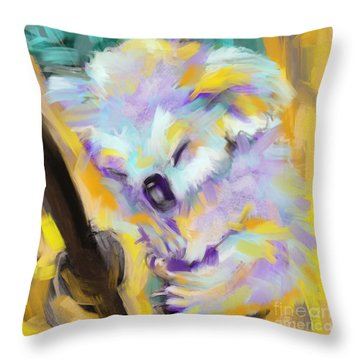 Throw Pillow featuring the painting Wildlife Cuddle Koala by Go Van Kampen