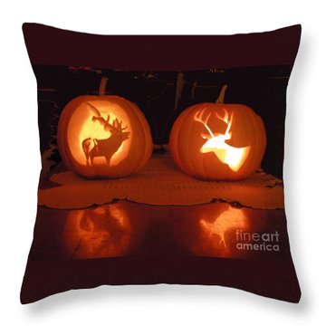 Wildlife Halloween Pumpkin Carving Throw Pillow