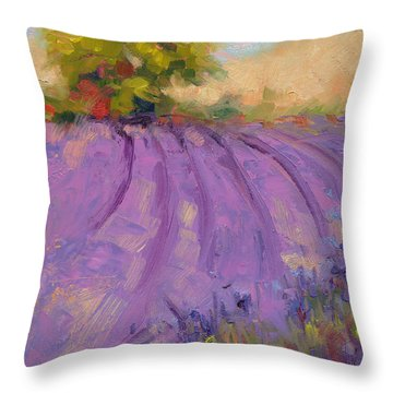 Wildrain Lavender Farm Throw Pillow
