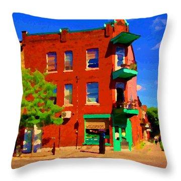 Wilenskys Deli Light Lunch Famous Sandwich Coffee Shop Art Of Montreal Street Scene Carole Spandau Throw Pillow by Carole Spandau