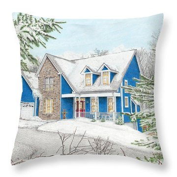Throw Pillow featuring the painting Wiley House by Albert Puskaric