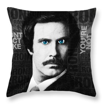 Will Ferrell Anchorman The Legend Of Ron Burgundy Words Black And White Throw Pillow by Tony Rubino