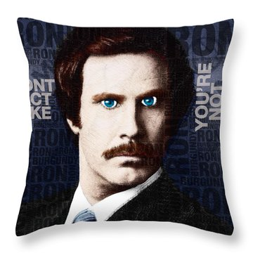 Will Ferrell Anchorman The Legend Of Ron Burgundy Words Color Throw Pillow by Tony Rubino