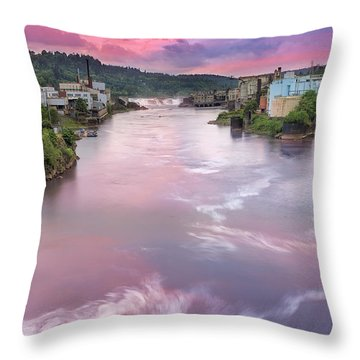 Willamette Falls During Sunset Throw Pillow by David Gn