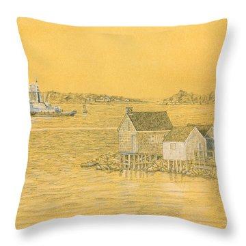 Willard Beach Fishing Shacks Throw Pillow