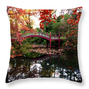 William And Mary College  Crim Dell Bridge Throw Pillow by Jacqueline M Lewis