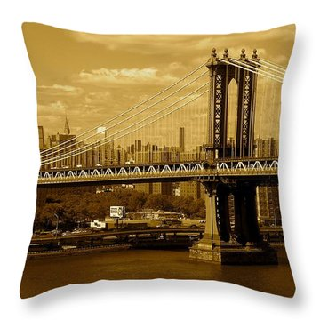Williamsburg Bridge New York City Throw Pillow