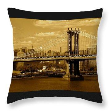 Williamsburg Bridge New York City Throw Pillow