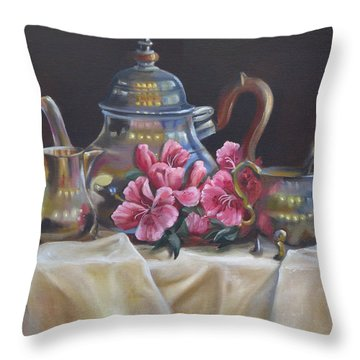Throw Pillow featuring the painting Williamsburg Stieff Tea Set by Phyllis Beiser