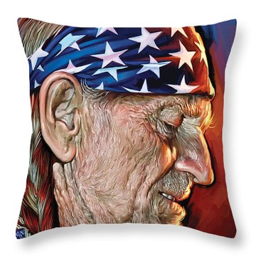 Throw Pillow featuring the painting Willie Nelson Artwork by Sheraz A