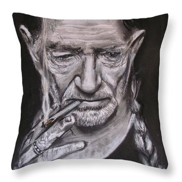 Willie Nelson - Doobie Brother Throw Pillow by Eric Dee
