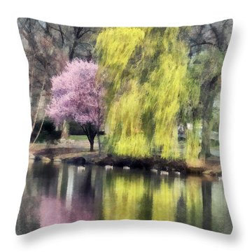 Willow And Cherry By Lake Throw Pillow by Susan Savad