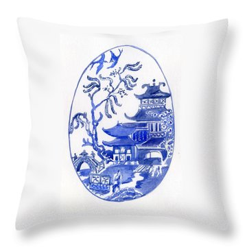 Willow Pattern Egg I Throw Pillow