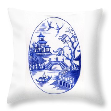 Willow Pattern Egg II Throw Pillow