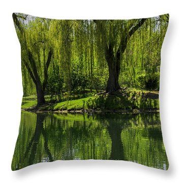 Willows Weep Into Their Reflection  Throw Pillow