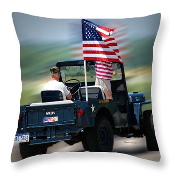 Willy Jeep From The 32nd Air Defense Throw Pillow by Thomas Woolworth
