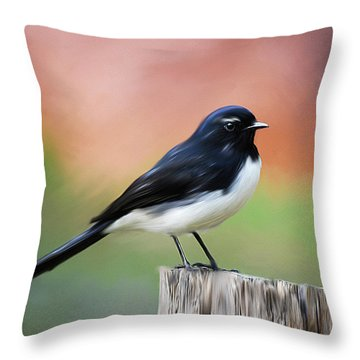 Willy Wagtail Austalian Bird Painting Throw Pillow