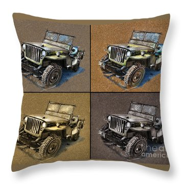 Willys Jeep Mb Car Drawing Throw Pillow