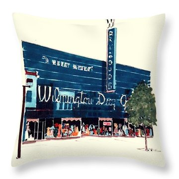 Throw Pillow featuring the painting Wilmington Dry Goods by William Renzulli