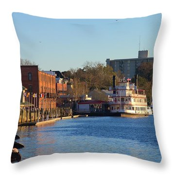 Wilmington River Front At Sunset January 2014 Throw Pillow