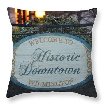 Wilmington Sign Throw Pillow by Cynthia Guinn
