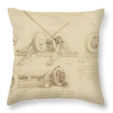 Winch Great Spring Catapult And Ladder From Atlantic Codex Throw Pillow by Leonardo Da Vinci