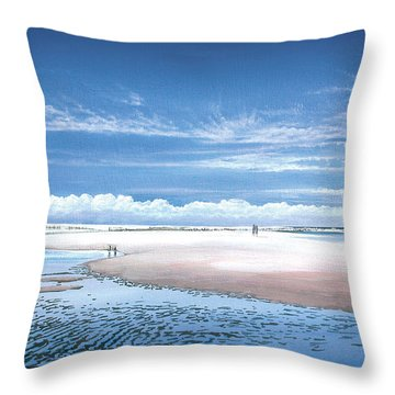 Winchelsea Beach Throw Pillow by Steve Crisp