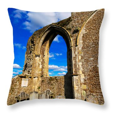 Winchelsea Church Throw Pillow by Louise Heusinkveld