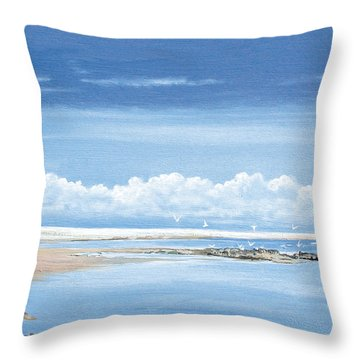Winchelsea Gulls Throw Pillow by Steve Crisp