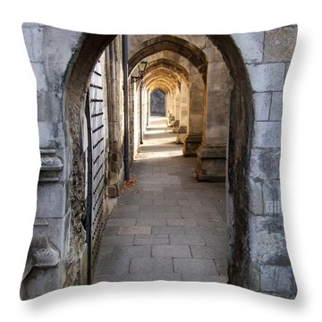 Throw Pillow featuring the photograph Arches - Winchester Cathedral - England by Phil Banks